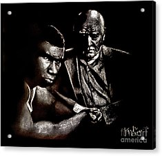 Young Boxer And Soon To Be World Champion Mike Tyson And Trainer Cus Damato Acrylic Print by Jim Fitzpatrick