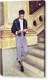 Acrylic Print featuring the photograph Young Boy Reading Book Outside 15042611 by Alexander Image