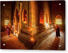 Young Buddhist Monk  Acrylic Print by Anek Suwannaphoom