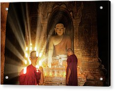 Young Buddhist Monk Are Reading With Sun Light Acrylic Print by Anek Suwannaphoom