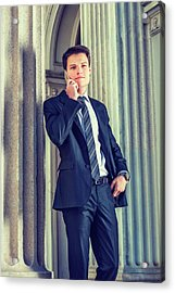 Acrylic Print featuring the photograph Young Businessman Working In New York 15042513 by Alexander Image