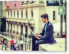 Young Businessman Working On Wall Street In New York Acrylic Print