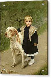 Young Child And A Big Dog Acrylic Print by Luigi Toro