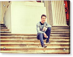 Acrylic Print featuring the photograph Young College Student On Campus 15042514 by Alexander Image