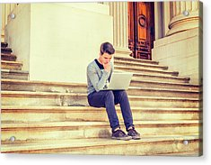 Young College Student Studying In New York 15042516 Acrylic Print