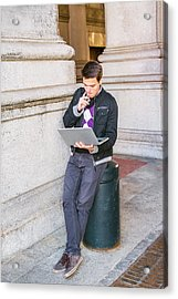 Acrylic Print featuring the photograph Young College Student Studying On Street In New York 15042520 by Alexander Image