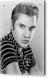 Young Elvis Bw Acrylic Print by Andrew Read