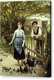 Young Farmers Acrylic Print by Edouard Bernard Debat-Ponsan