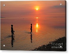 Young Fishermen At Sunset Acrylic Print