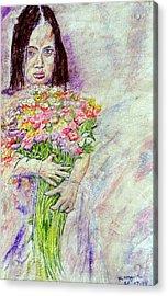 Young Flower Girl Acrylic Print by Richard Wynne