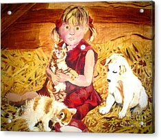 Young Girl In A Barn Acrylic Print by Josie Weir