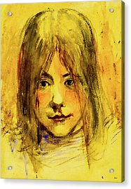 Young Girl Lost In Thought Acrylic Print by KJ DePace