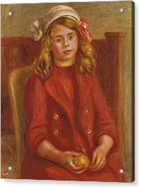 Young Girl With An Orange Acrylic Print by Pierre Auguste Renoir