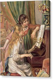 Young Girls At The Piano Acrylic Print by Pierre Auguste Renoir
