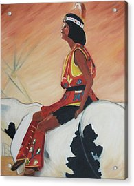 Young Indian Native Acrylic Print by Suzanne  Marie Leclair
