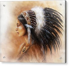 Young Indian Woman Wearing A Big Feather Headdress A Profile Portrait On Structured Abstract Acrylic Print by Jozef Klopacka