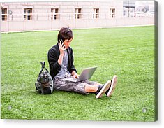 Young Japanese Man Traveling, Working In New York 15041418 Acrylic Print