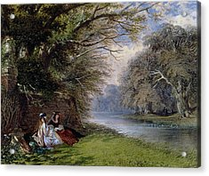 Young Ladies By A River Acrylic Print by John Edmund Buckley