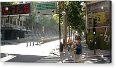 Young Lady And Gent On Rios Rosas Street - Madrid Acrylic Print by Thomas Bussmann