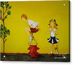 Young Love Series -  The Fire Plug Acrylic Print by Barbara Hayes