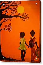 Young Love Series-the Walk Home Acrylic Print by Barbara Hayes