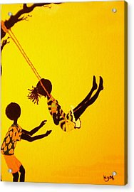 Young Love-swing Time Acrylic Print by Barbara Hayes