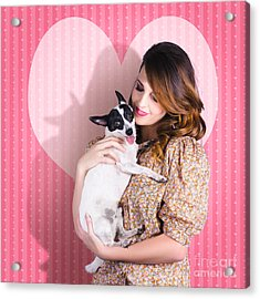 Young Loving Woman Holding Cute Small Pet Dog Acrylic Print