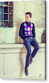 Acrylic Print featuring the photograph Young Man Casual Fashion In New York 15042517 by Alexander Image
