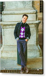 Acrylic Print featuring the photograph Young Man Casual Fashion In New York 15042519 by Alexander Image