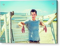 Young Man Relaxing On The Beach Acrylic Print