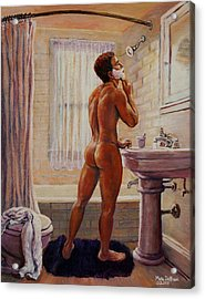 Young Man Shaving Acrylic Print