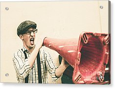 Young Man Shouting With Road Marker Loud Hailer Acrylic Print by Jorgo Photography - Wall Art Gallery