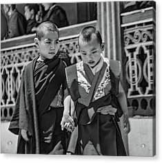 Young Monks - Buddies Bw Acrylic Print