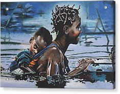 Young Mother And Child Acrylic Print by Andre Ajibade