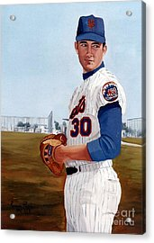 Acrylic Print featuring the painting Young Nolan Ryan - With Mets by Rosario Piazza