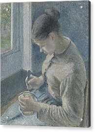 Young Peasant Having Her Coffee Acrylic Print by Camille Pissarro