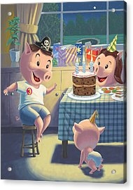 Young Pig Birthday Party Acrylic Print