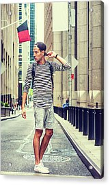 Young Russian Man Traveling In New York Acrylic Print