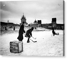 Young Russians Playing Hockey Acrylic Print by Everett