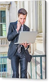 Young School Boy Working Remotely 15042510 Acrylic Print