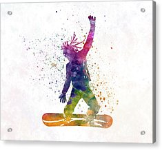 Young Snowboarder Man 01 In Watercolor Acrylic Print