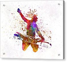 Young Snowboarder Man 02 In Watercolor Acrylic Print