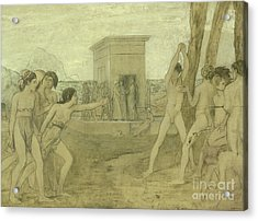 Young Spartan Girls Challenging Boys Acrylic Print by Edgar Degas