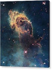 Young Stars Flare In The Carina Nebula Acrylic Print by Nasa/Esa