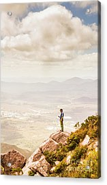 Young Traveler Looking At Mountain Landscape Acrylic Print by Jorgo Photography - Wall Art Gallery