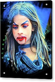 Young Witch With Bloody Lips Acrylic Print