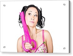 Young Woman Barber Holding Large Pink Scissors Acrylic Print