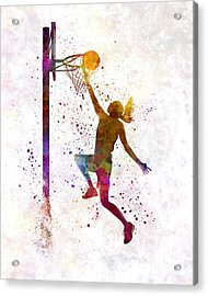 Young Woman Basketball Player 04 In Watercolor Acrylic Print by Pablo Romero
