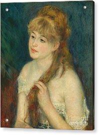 Young Woman Braiding Her Hair - Auguste Renoir Acrylic Print by Pod Artist