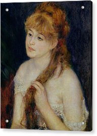 Young Woman Braiding Her Hair Acrylic Print by Pierre Auguste Renoir